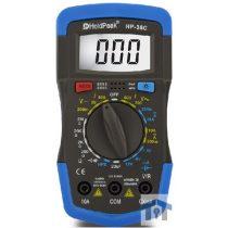 HOLDPEAK 36C Digitális multiméter, VDC, VAC, ADC, AAC, ellenállás, kapacitás, dióda, hFE, szakadás.